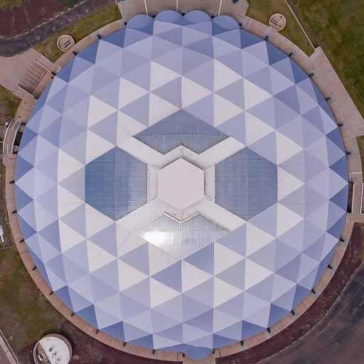 Photograph of the dome shaped gym at Round Valley High School in Arizona