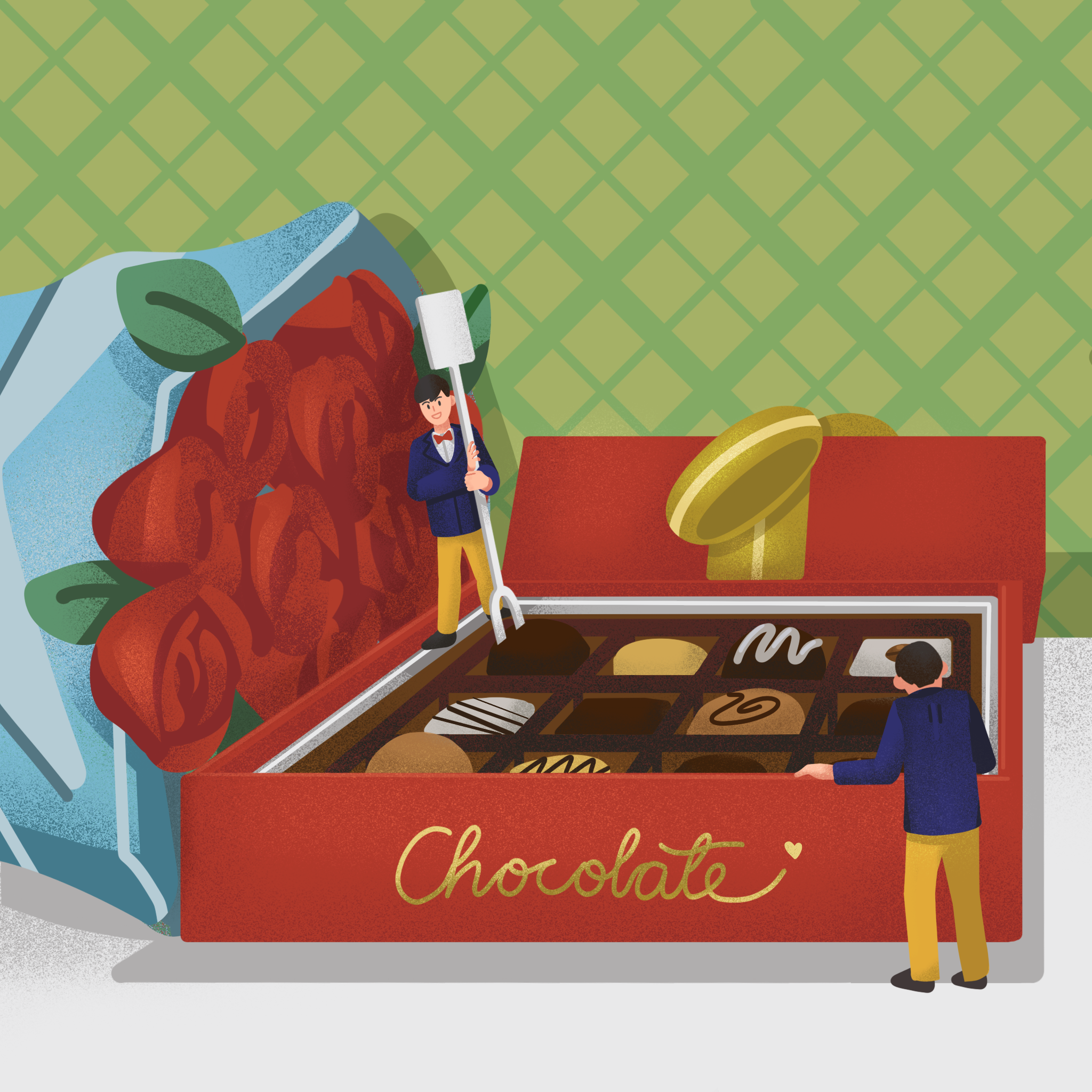 An illustration designed for chocolate advertisements.