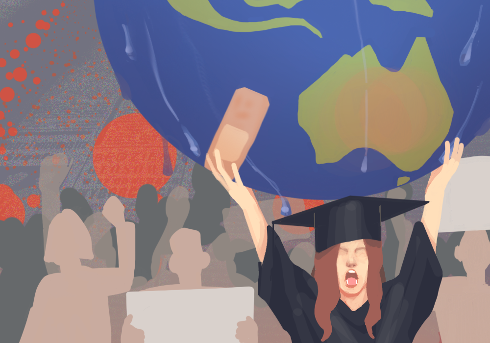 An illustration for Et Cetera Publications regarding student protests and environmental activism.