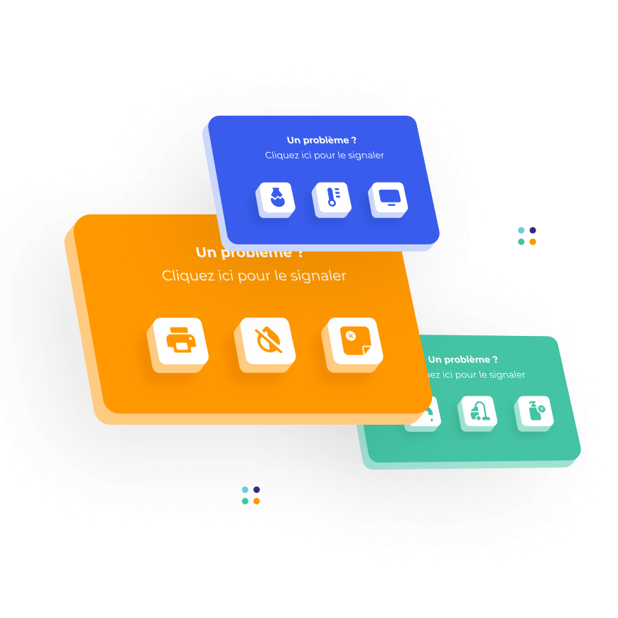 Boutons connectés et chatbots permettant aux collaborateurs d'effectuer une demande en quelques secondes