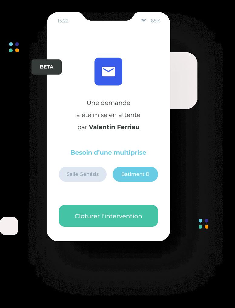 Dashboard Mobile MerciYanis, clôture de la prestation par mail ou sms
