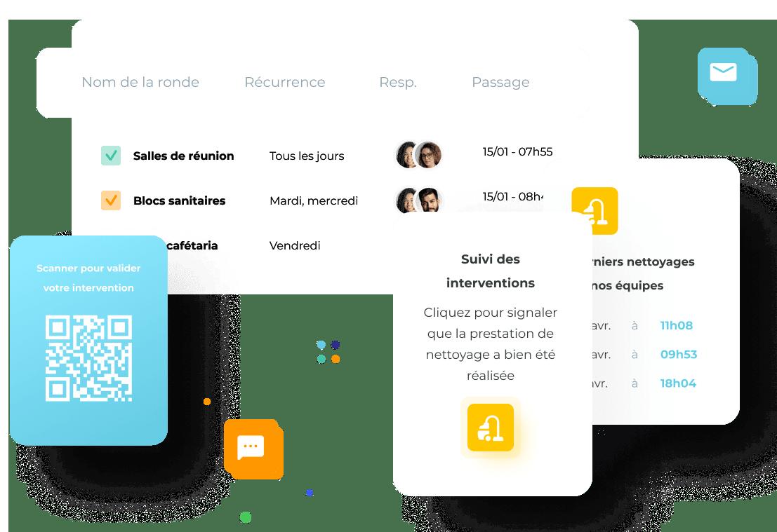 une image de la plateforme avec des QR Codes et des objets connectés.