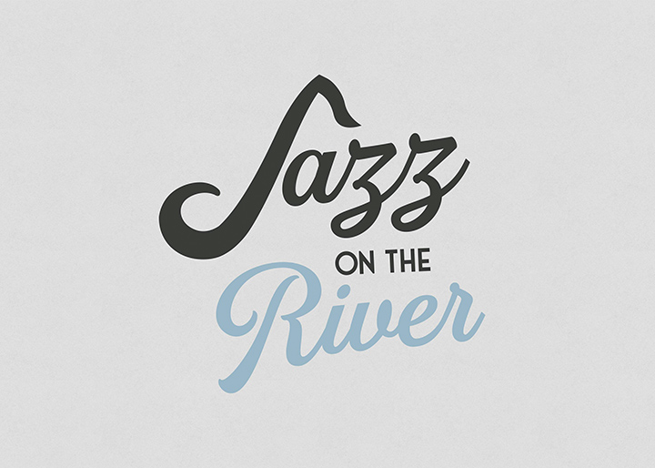 Jazz on the River logo on a textured white background.
