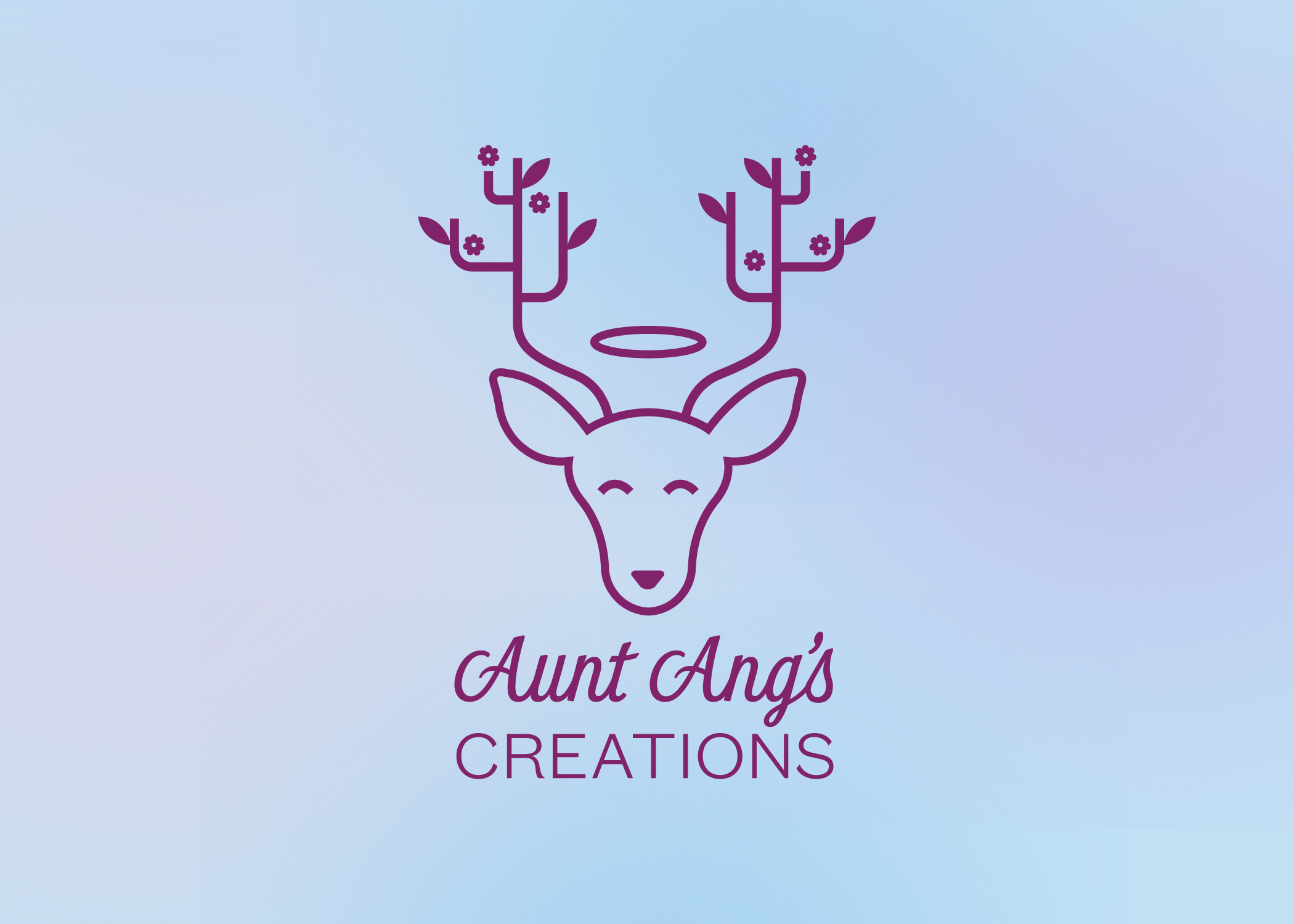 Aunt Ang's Creations logo, which features a deer with flowers and leaves on its antlers. It is on a celestial blue  background with soft notes of pink and purple.