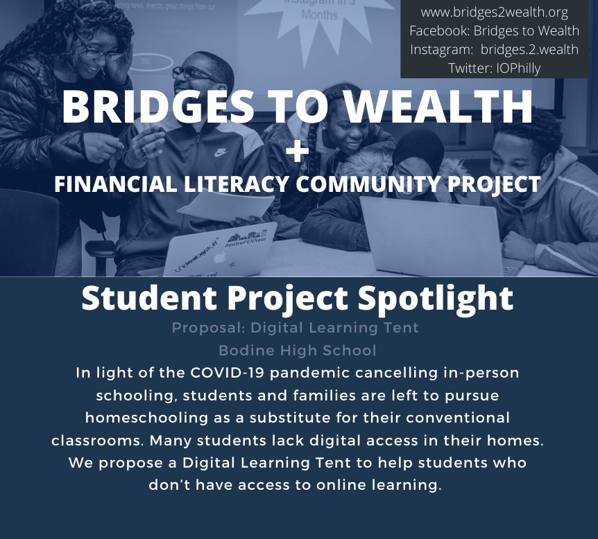 In response to the COVID-19 crisis many educational programs are adapting their curriculum. Bridges to Wealth and the Financial Literacy Community Project have modified their final assignments allowing many student groups to jump into action with business proposals to support communities throughout this pandemic.