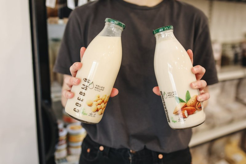 bottles of soya milk a healthy drink to lower cholesterol
