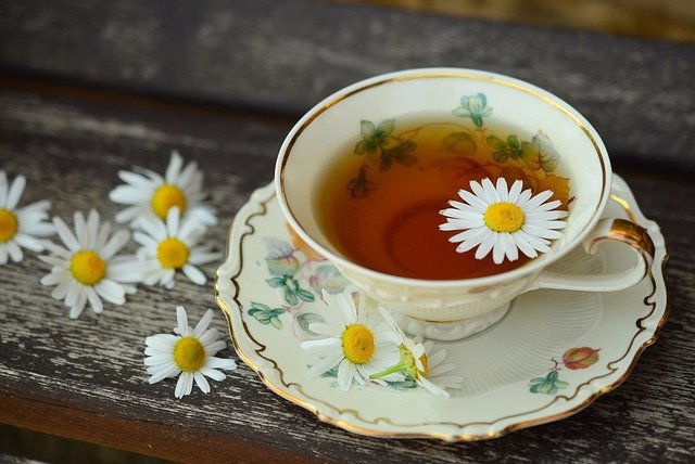 cup of chamomile tea for sore throat
