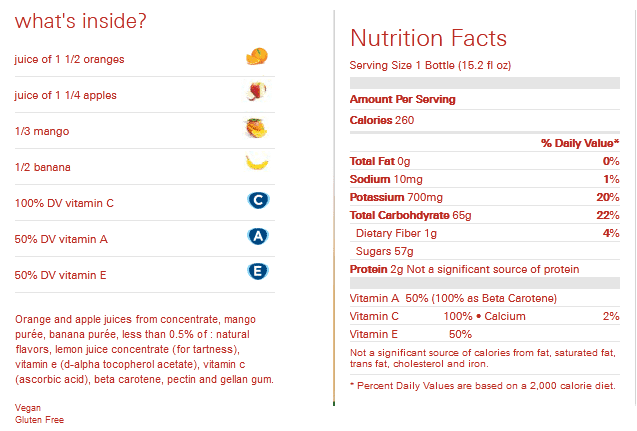 nutrition content of odwalla smoothies
