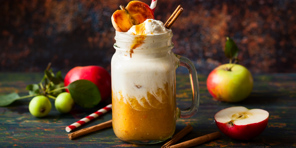 A Photo Of An Apple And Caramel Smoothie