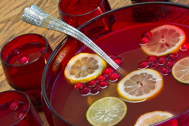 cranberry holiday punch - christmas punch stock pictures, royalty-free photos & images