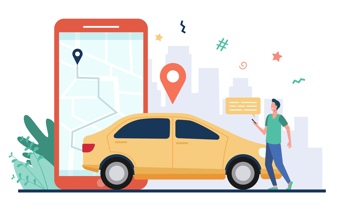 Man-with-map-on-smartphone-renting-car.-driver-using-car-sharing-app-on-phone-and-searching-vehicle