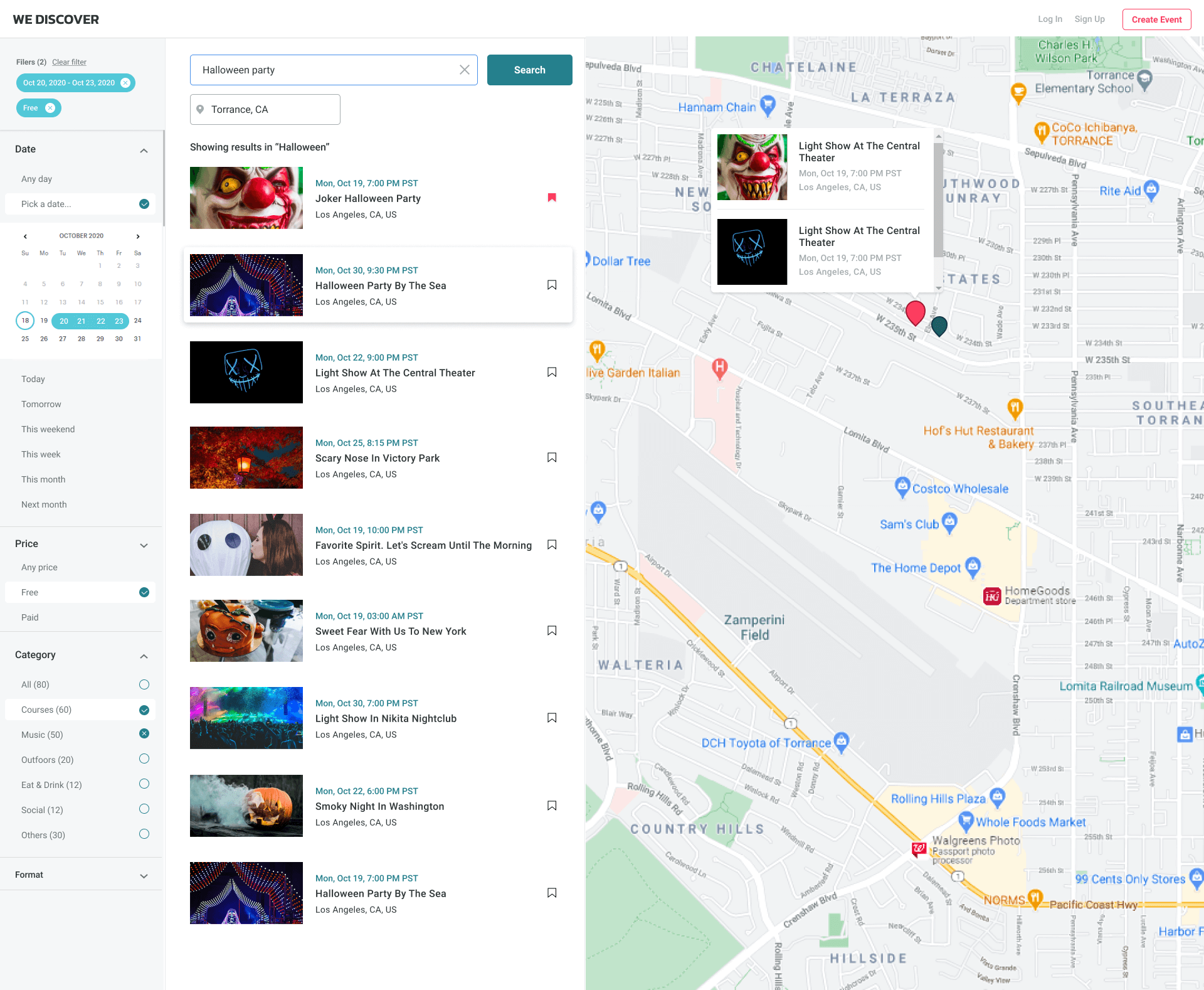 WeDiscover search event page