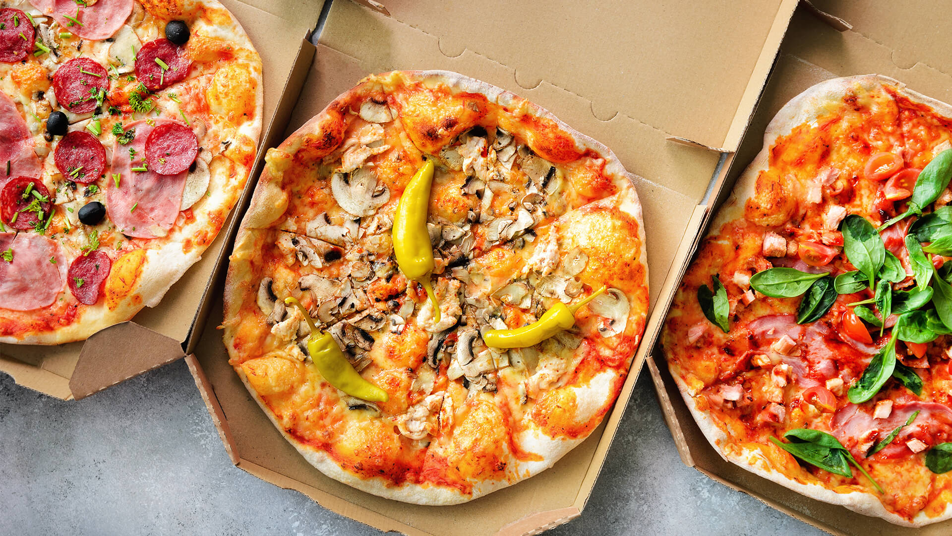 Fresh pizza in a box