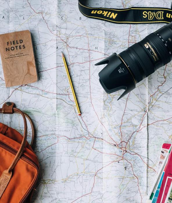 camera, book, and bag