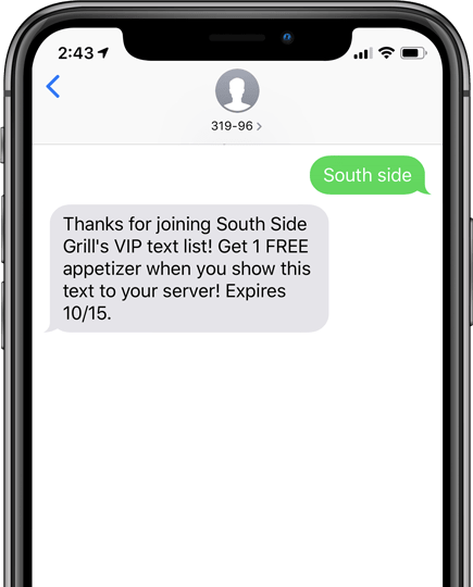 sms text keyword to short code example