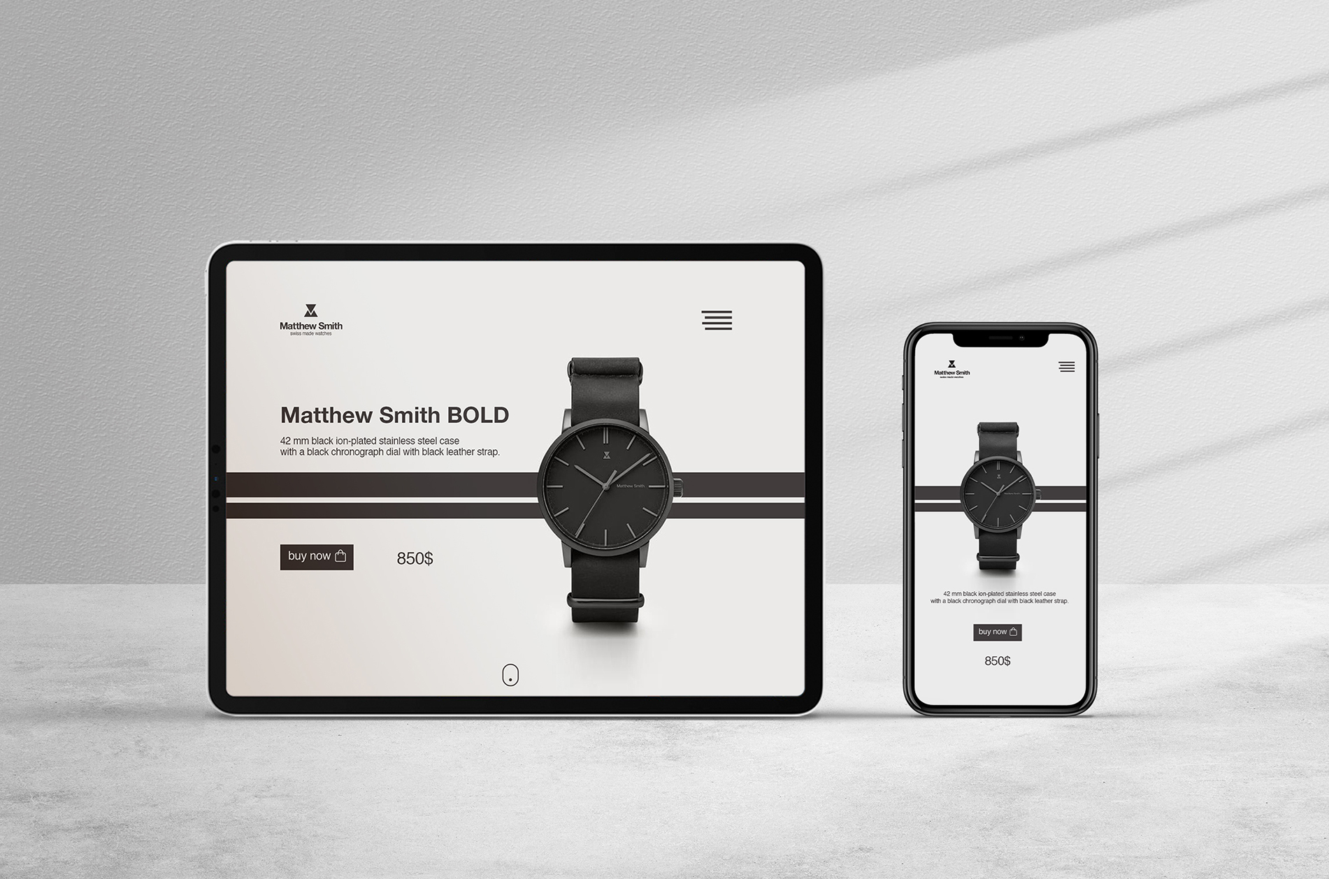 Web design, ui/ux commercial web for watches