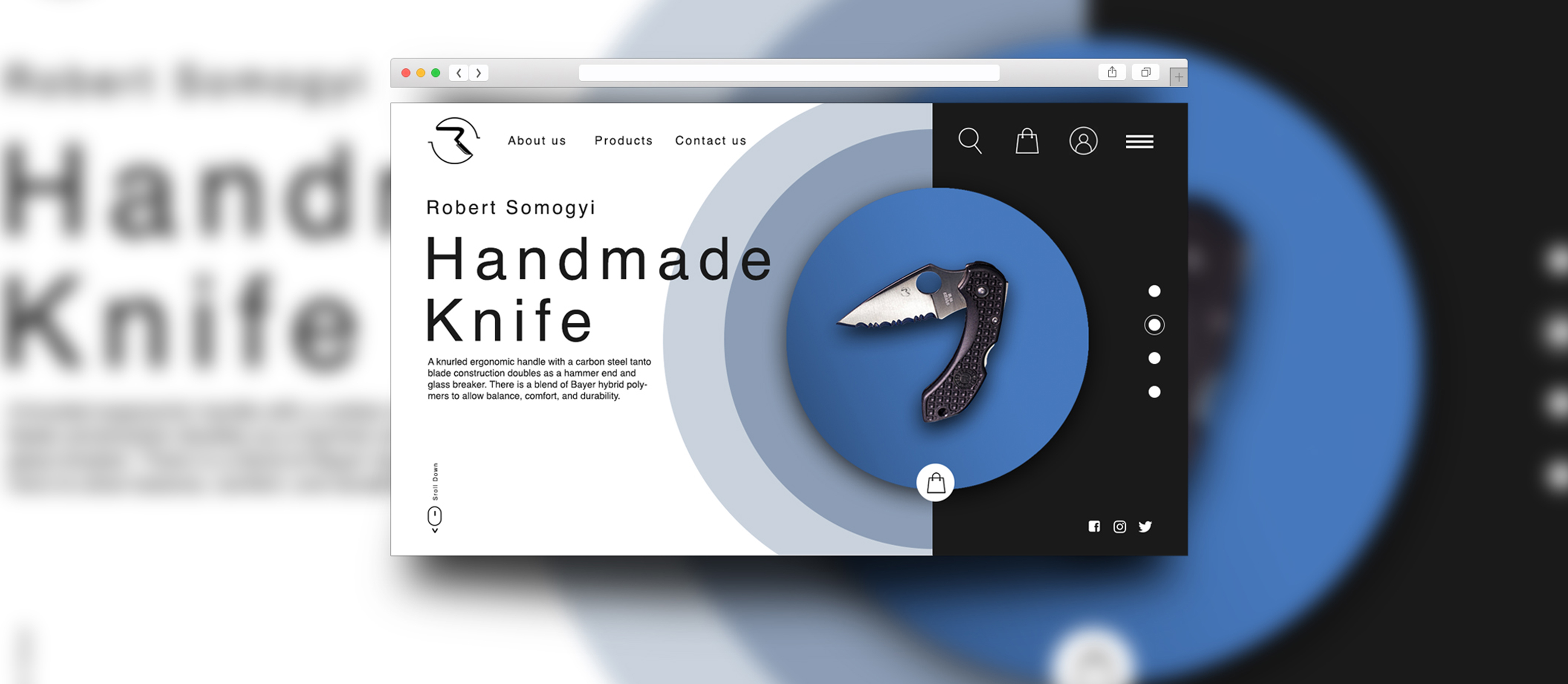 Handmade knife ui/ux desing