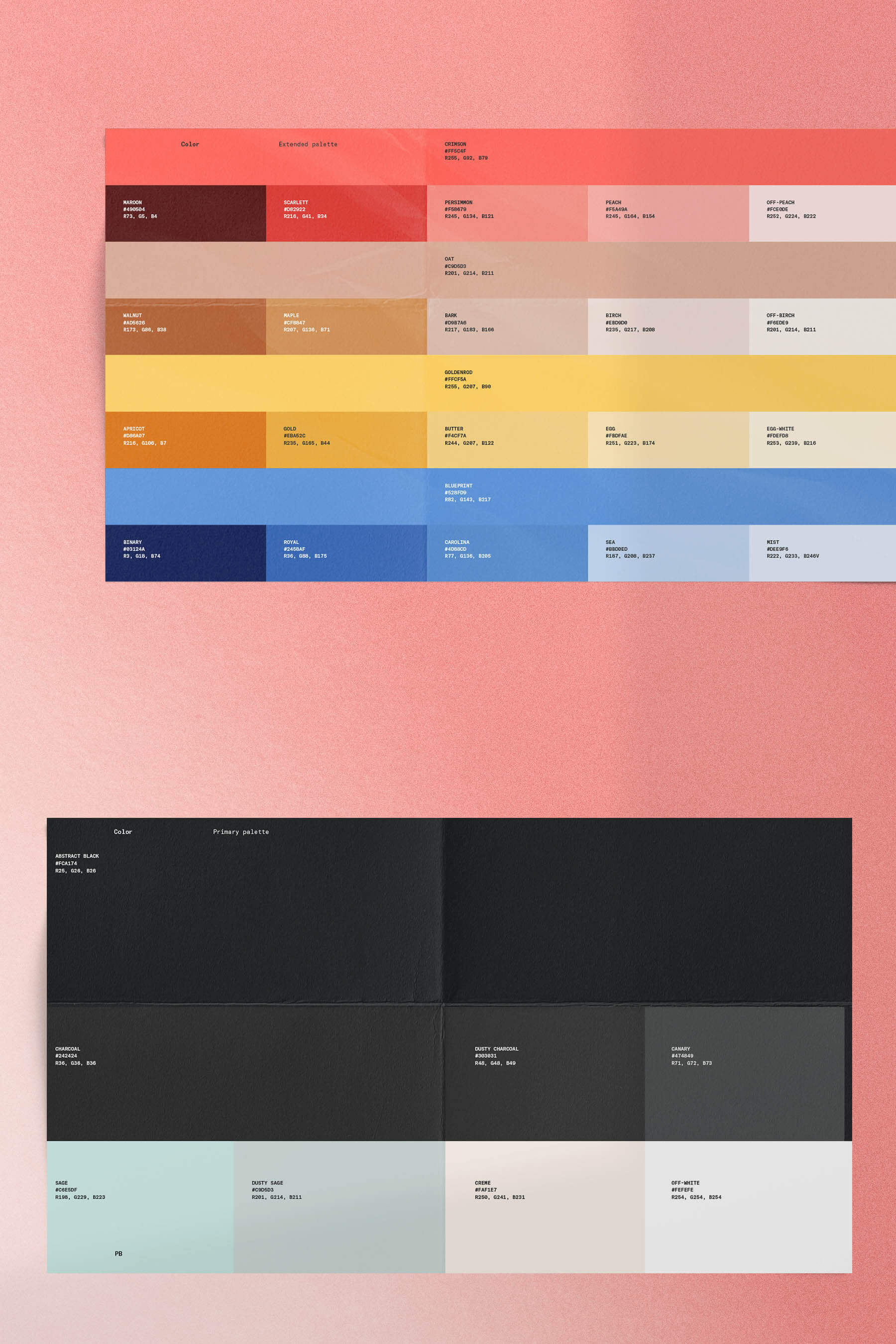 Abstract brand guide, featuring extended color palettes and main color palettes.