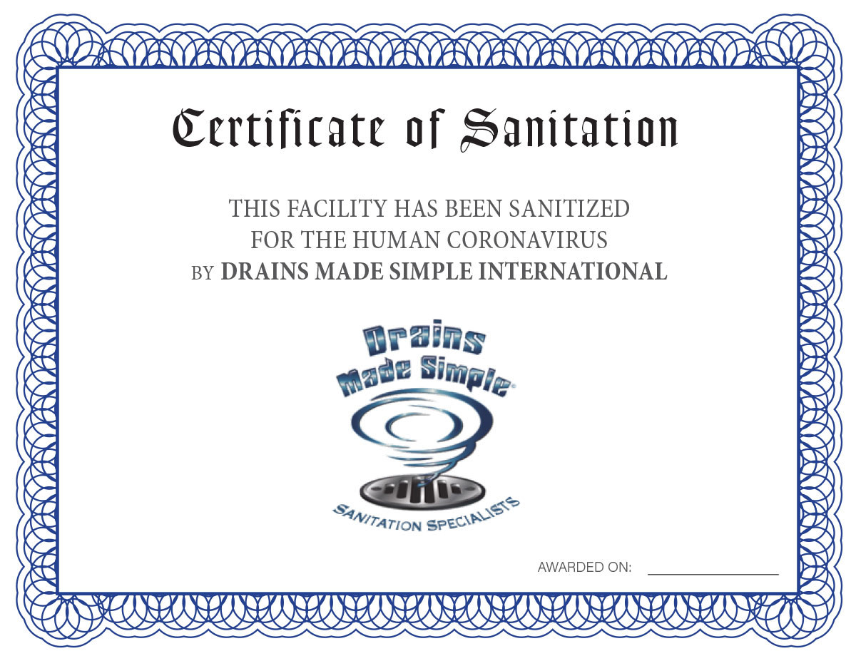 DMS Certificate of Sanitation
