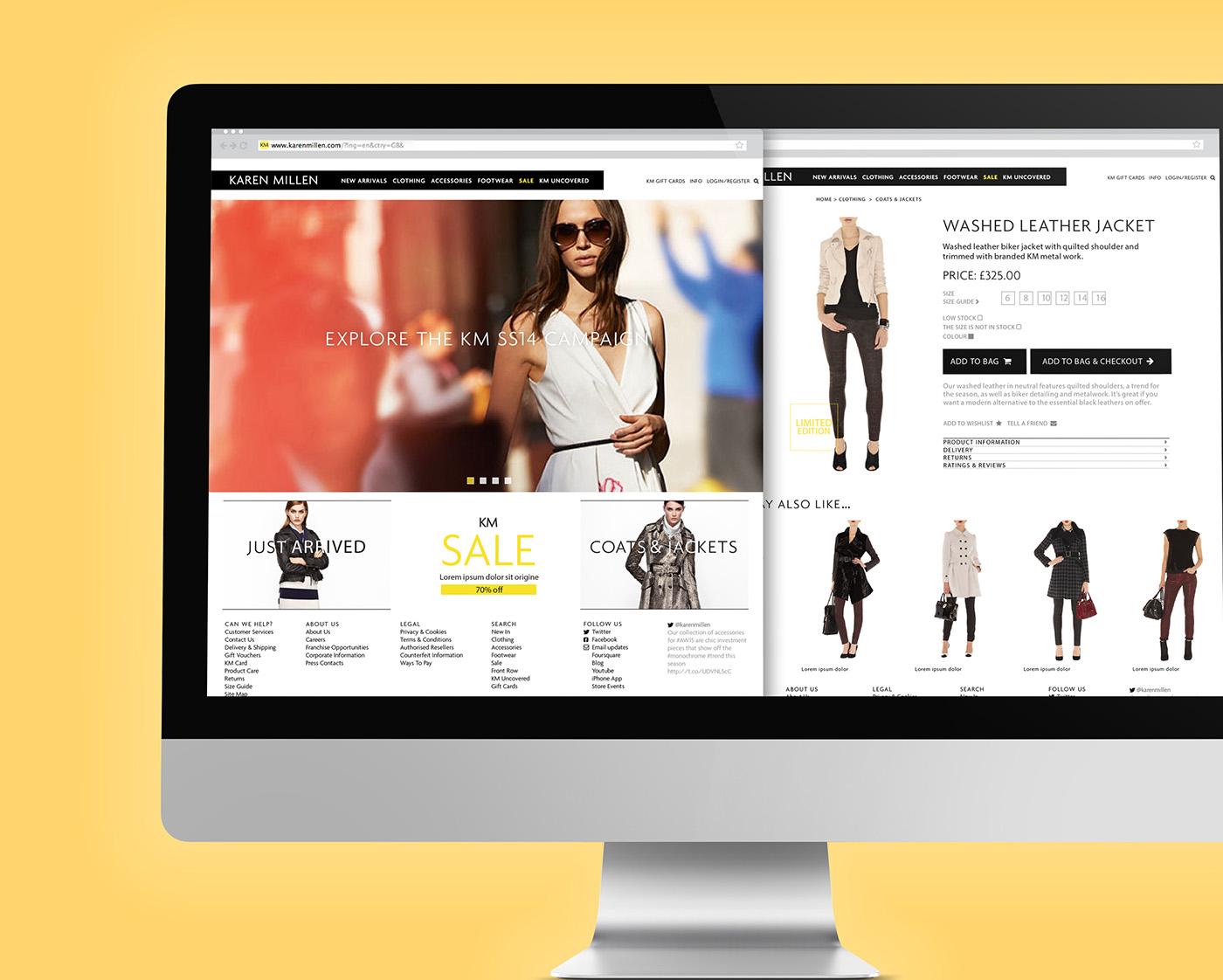 Karen Millen web design - reskin - design by Garrett Reil