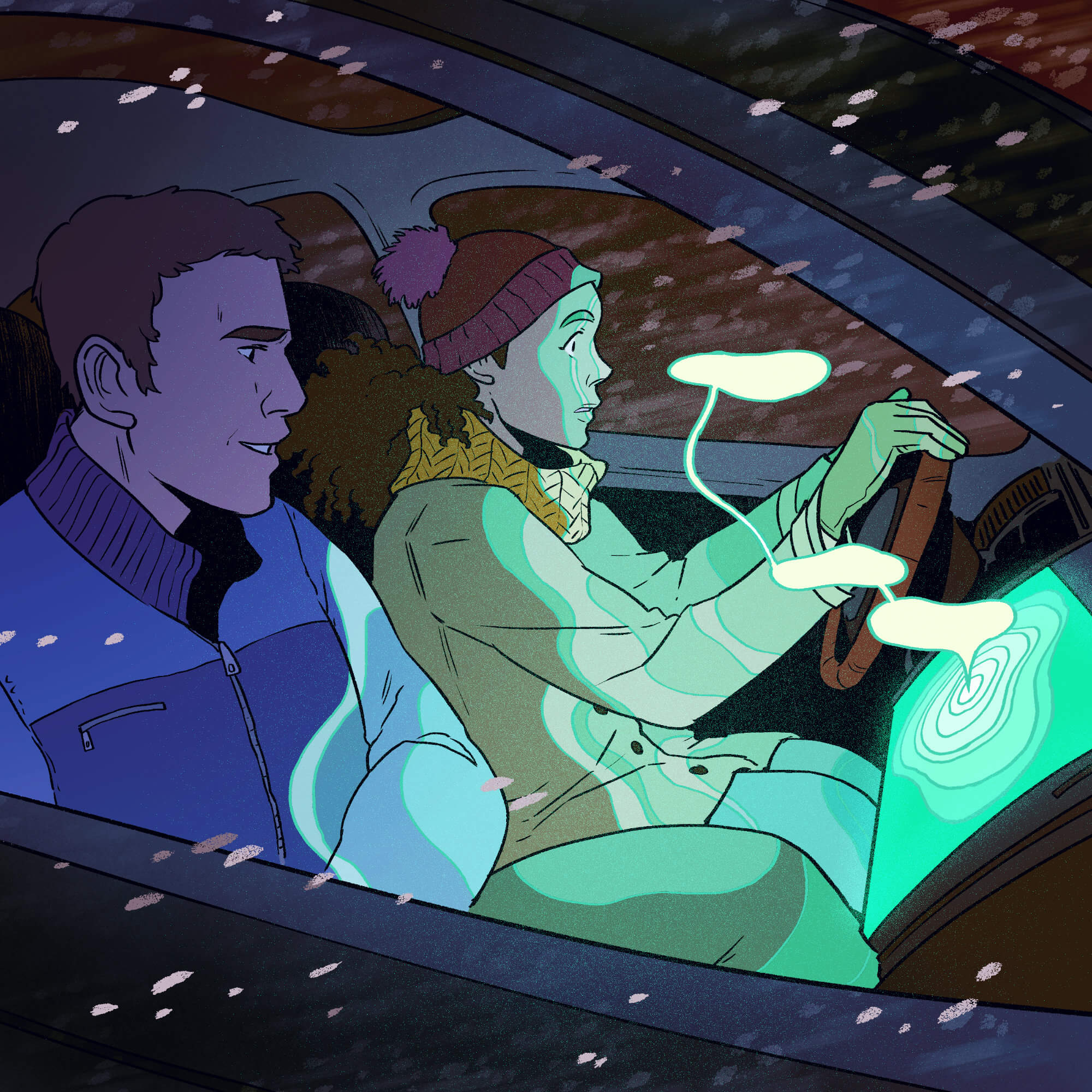 An illustration of a woman driving a car during a storm with a male passenger, while the dashboard bathes them in green light.
