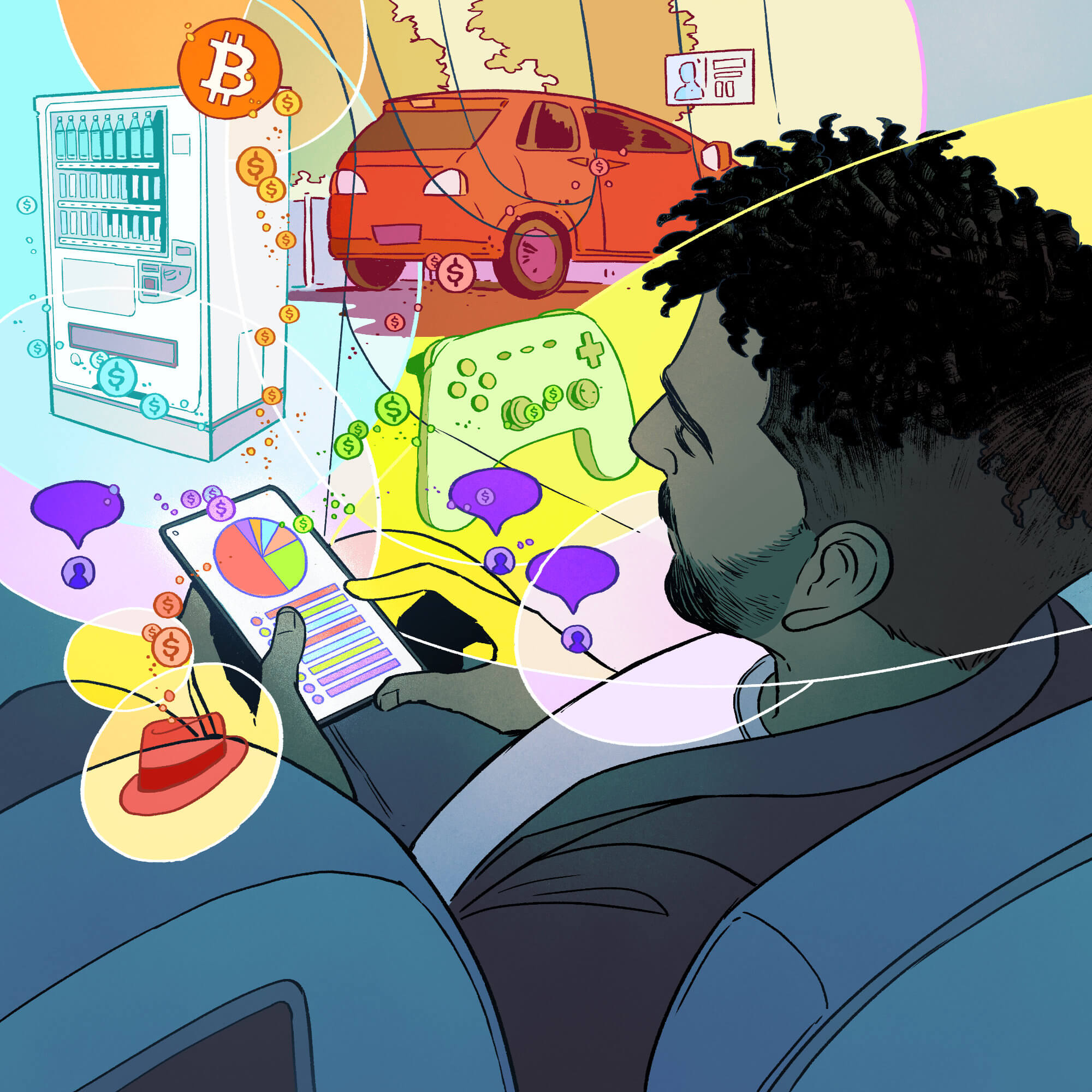 An illustration of a man in an airline seat, checking his phone while abstract bubbles float around showing his business earnings.
