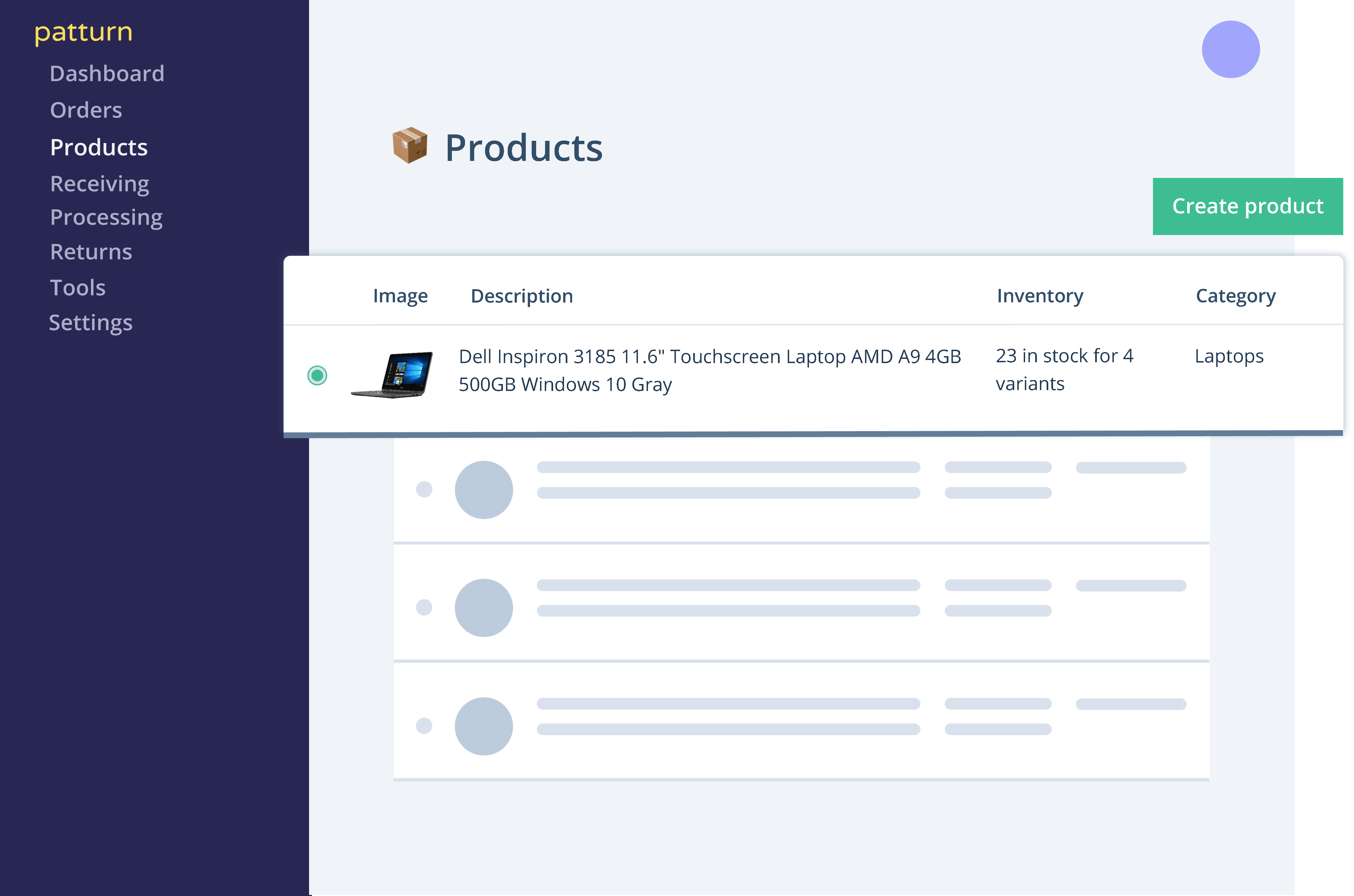 inventory management features: products dashboard