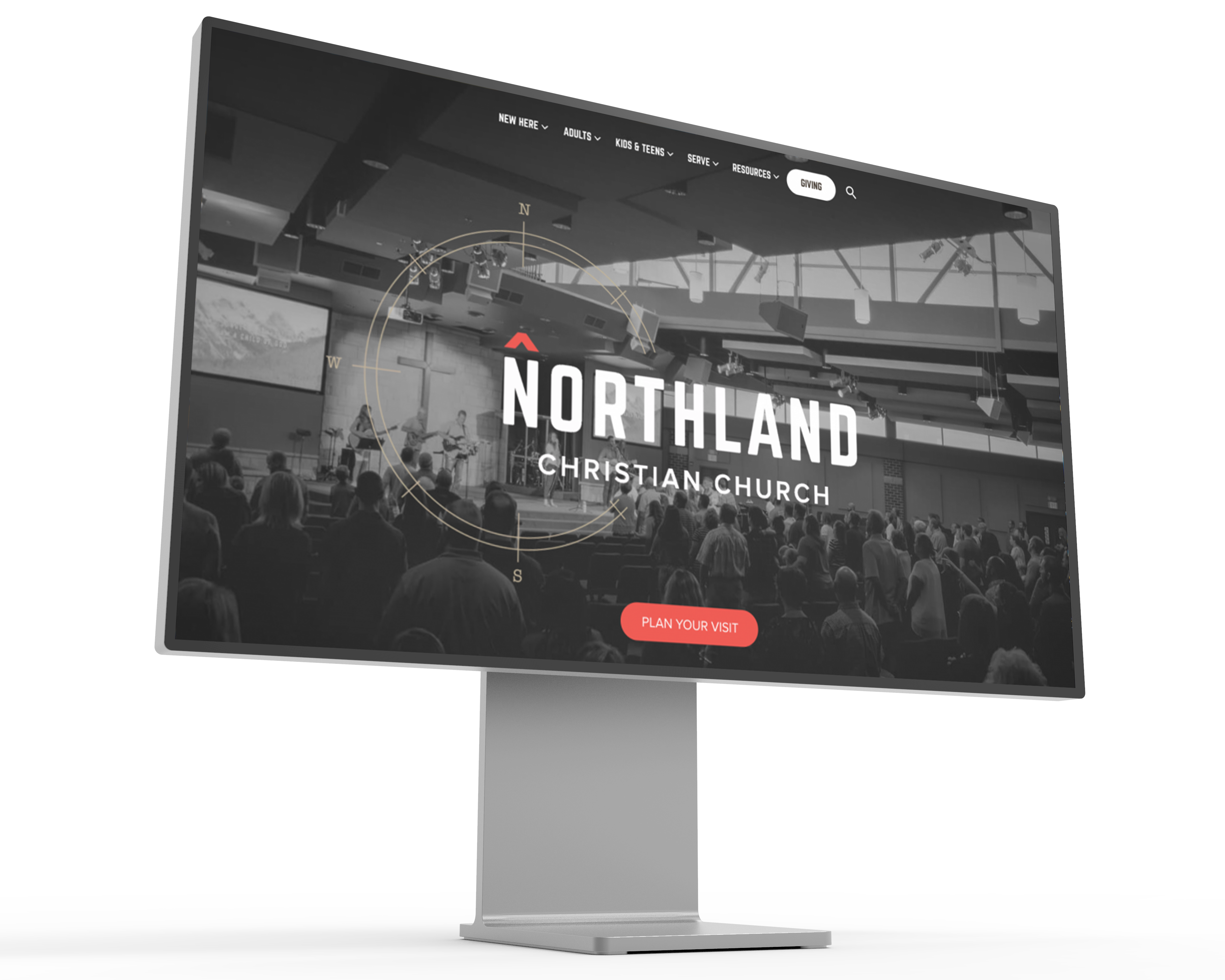 Image of the Northland Christian Church of Topeka website displayed on a mockup of a Pro XDR Display.