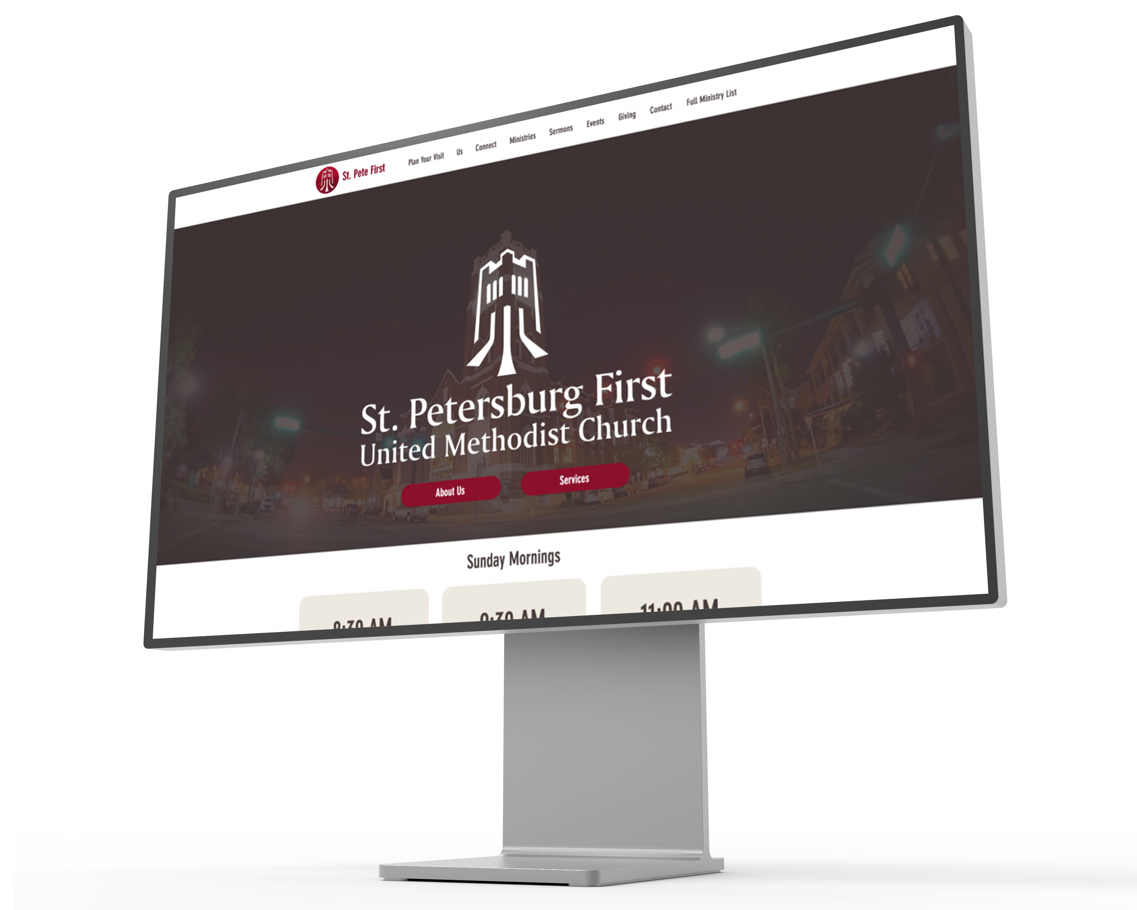 Image of the St. Petersburg First United Methodist Church website displayed on a mockup of a Pro XDR Display.
