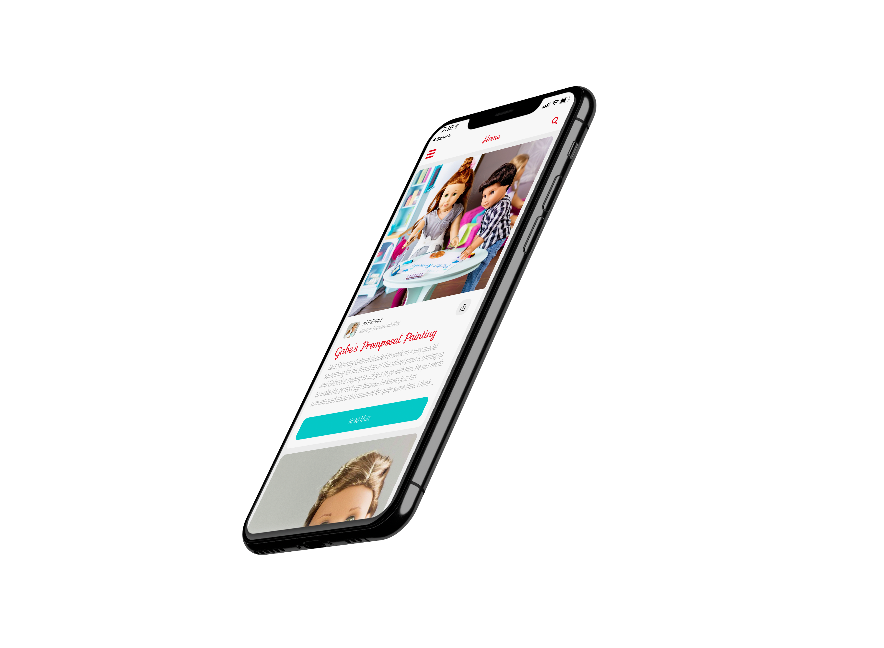 Image of the Small Dolls in a Big World app displayed on a mockup of an iPhone 11.
