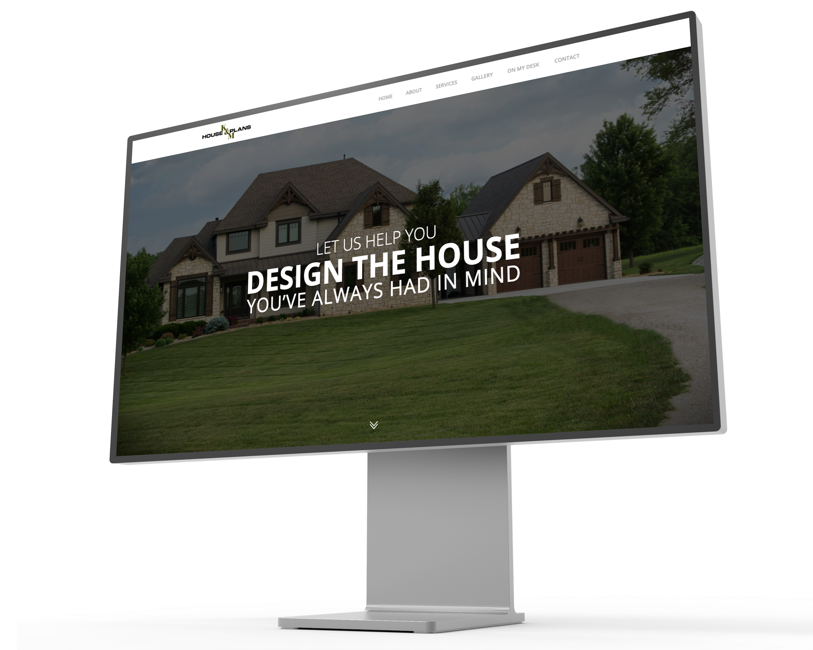 Image of K&M House Plans website displayed on a mockup of a Pro XDR Display.