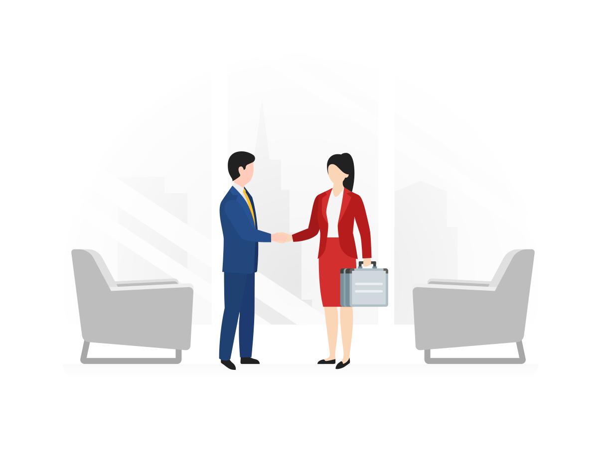 Een man en vrouw schudden elkaar de hand na een vergadering