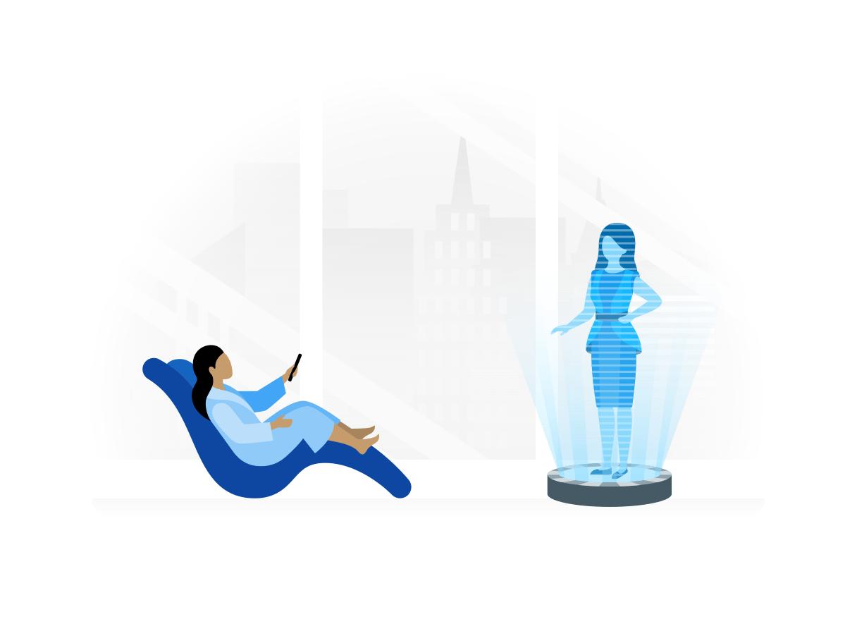 Een vrouw zit in een futuristische stoel naar een hologram te kijken