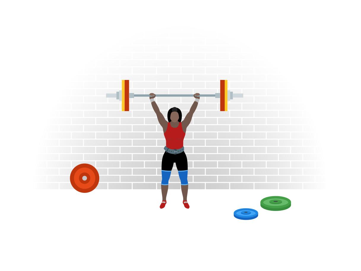 Een powerlifter is gewichten aan het tillen