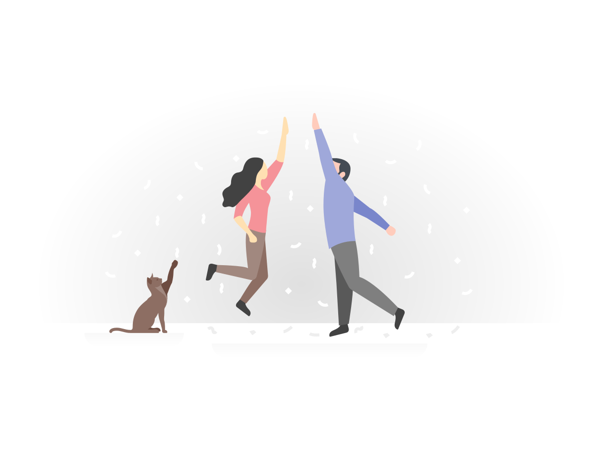 Twee personen geven elkaar een high five