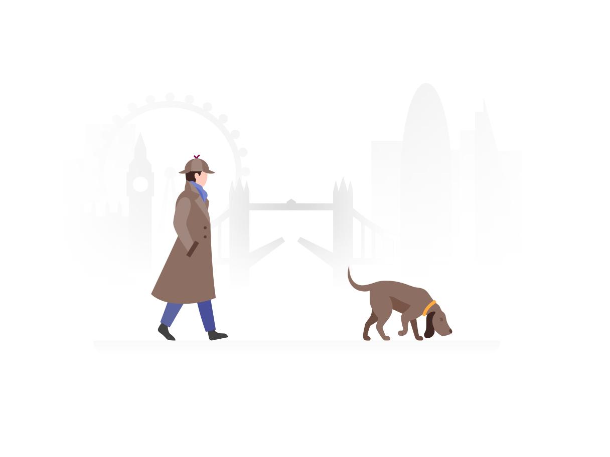 Sherlock Holmes laat zijn hond uit in Londen