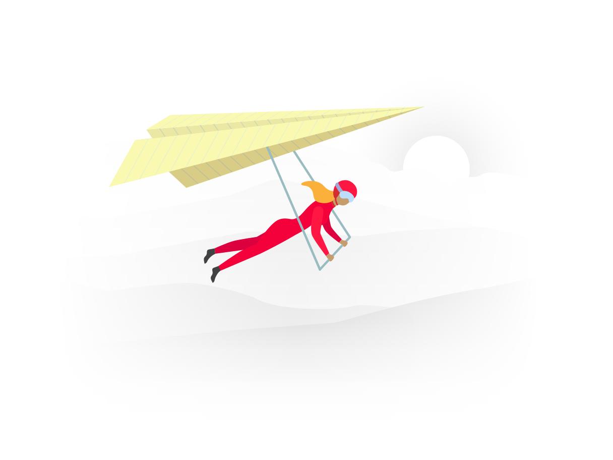Een persoon in een rood pak hangt aan een vlieger