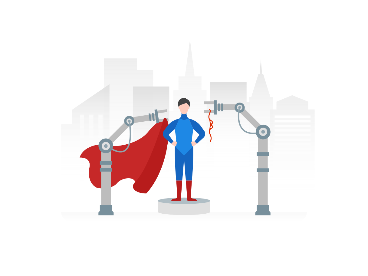 Een superheld wordt op een podium gevormd