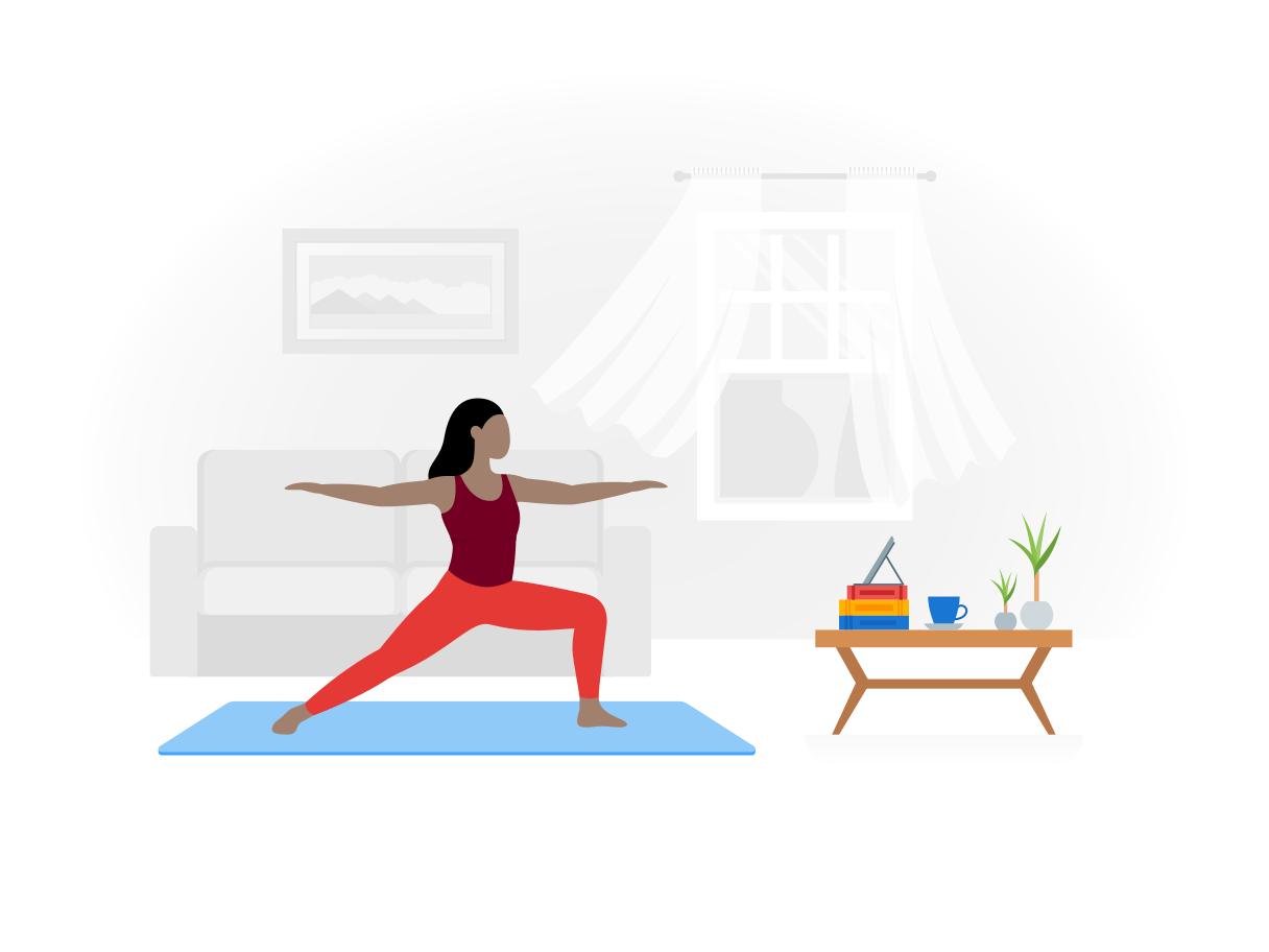 Een vrouw die yoga uitvoert op haar matje