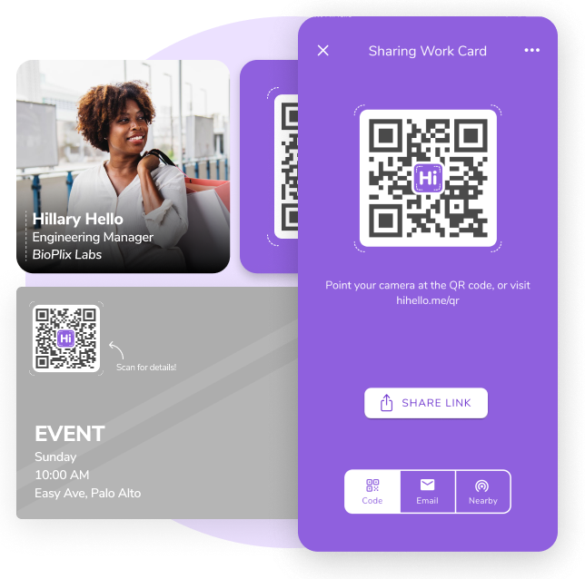 A HiHello QR code for sharing your virtual business card.