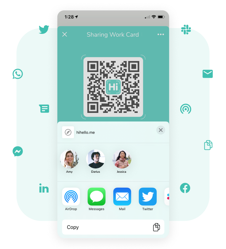Different ways to share your HiHello digital business cards, including Airdrop, SMS, email, and more.