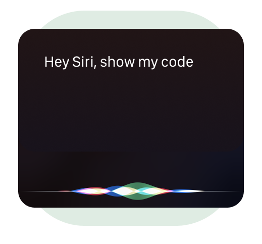 A demonstration of what to say to Siri when you want her to show your HiHello QR code.