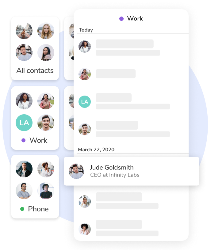 Example of HiHello's free Self-Healing Address Book and contact manager. Contacts are organized into groups.