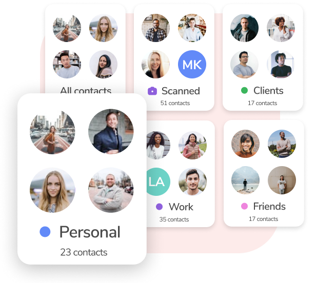 Different HiHello groups, including personal contacts, work contacts, clients, friends, all contacts, and scanned cards.