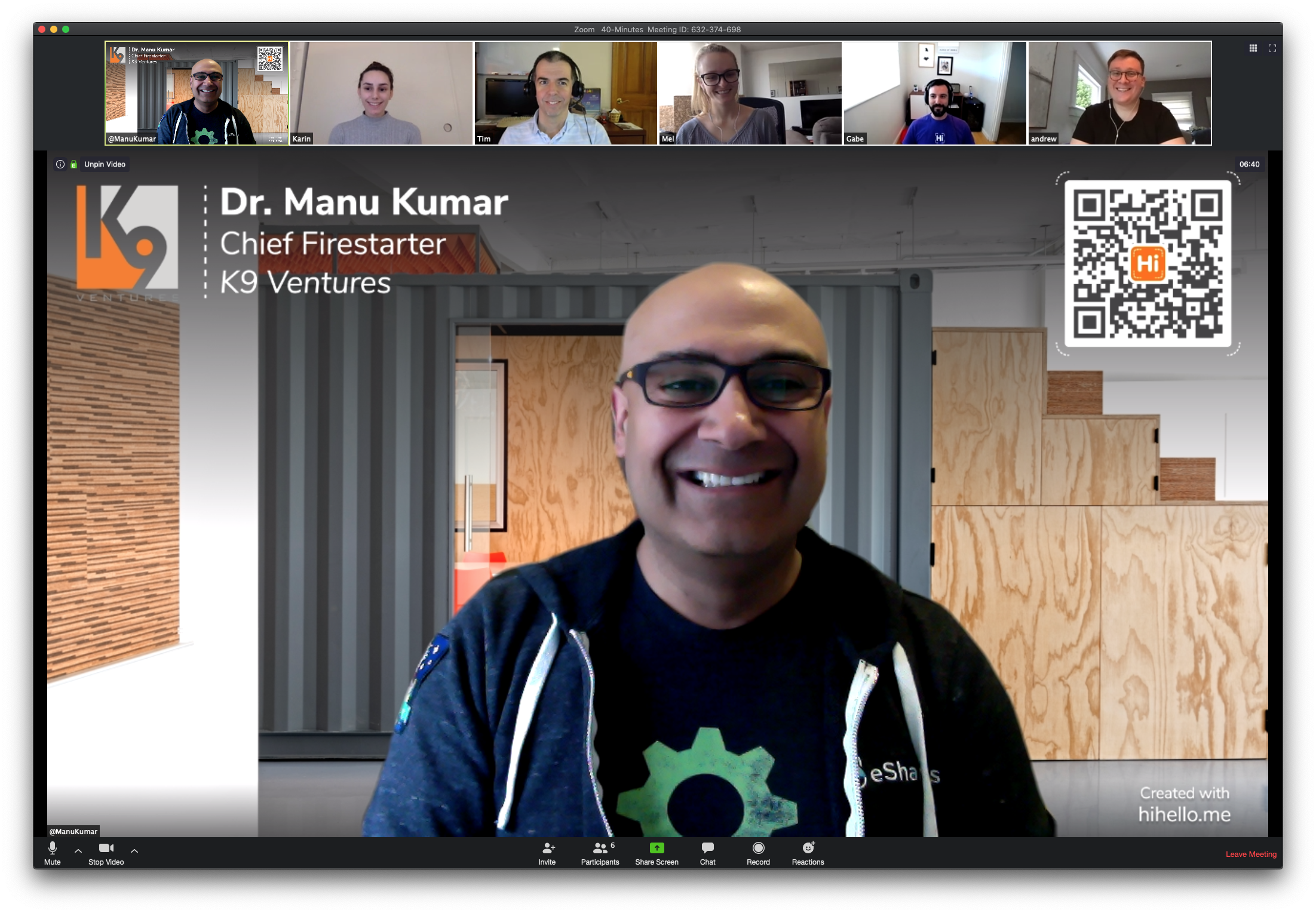 HiHello's Co-founder and CEO, Manu Kumar, showing his HiHello virtual background during a video call.