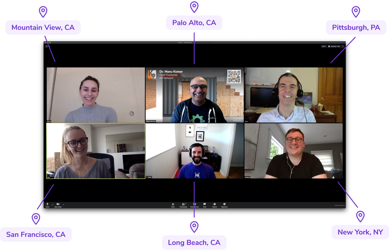 Six professionals, including HiHello Co-founder and CEO Manu Kumar, having a business meeting over a video call. One is using a HiHello virtual background.