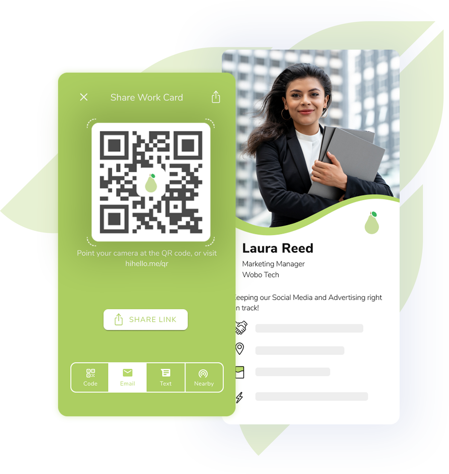 Digital business card with a QR code and email and text sharing options with corporate branding