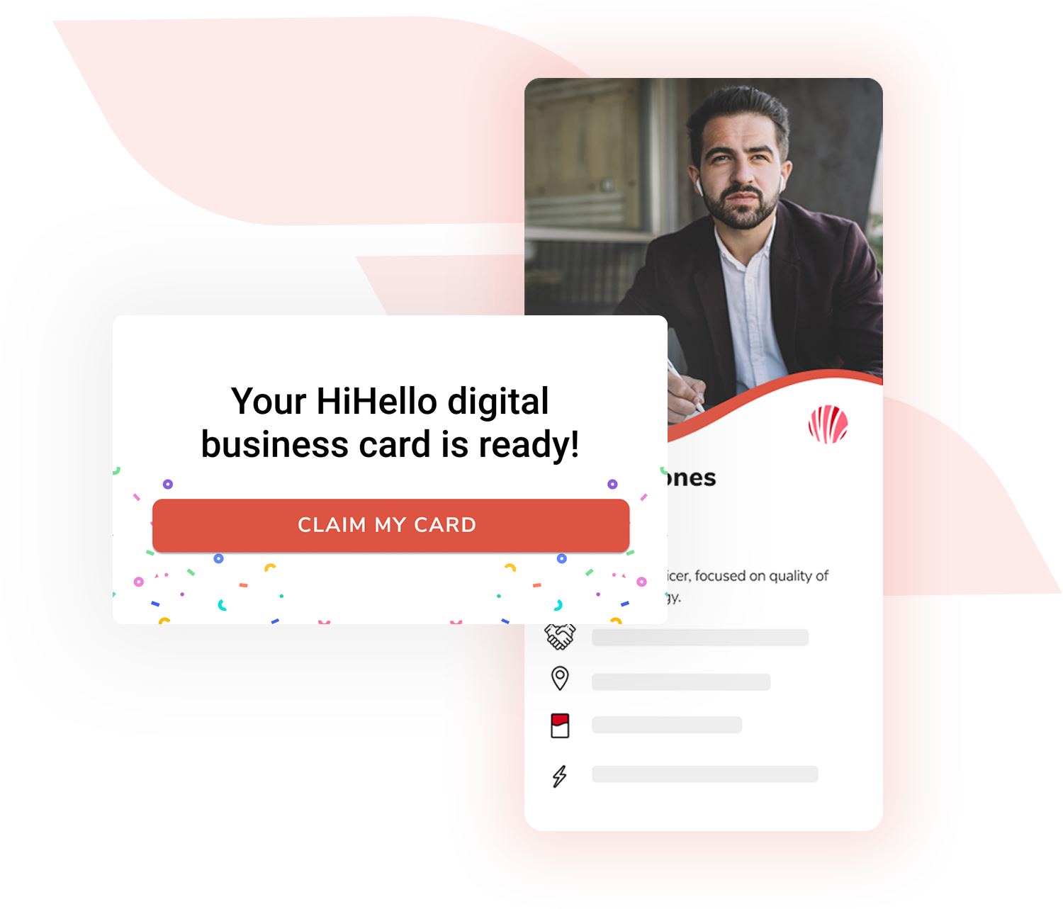 HiHello for Business onboarding. Send you employees an email where they can claim their new company digital business card.