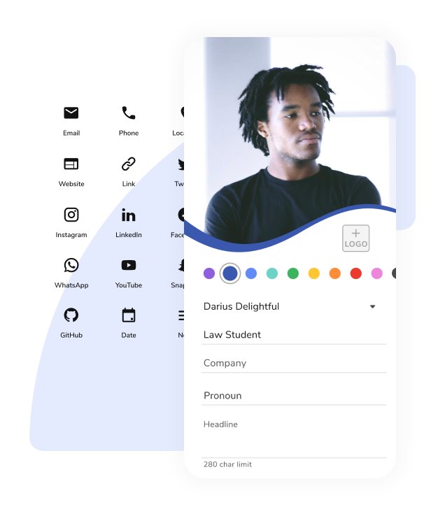 Customize your HiHello digital business card with colors, pronouns, social media profiles, and more.