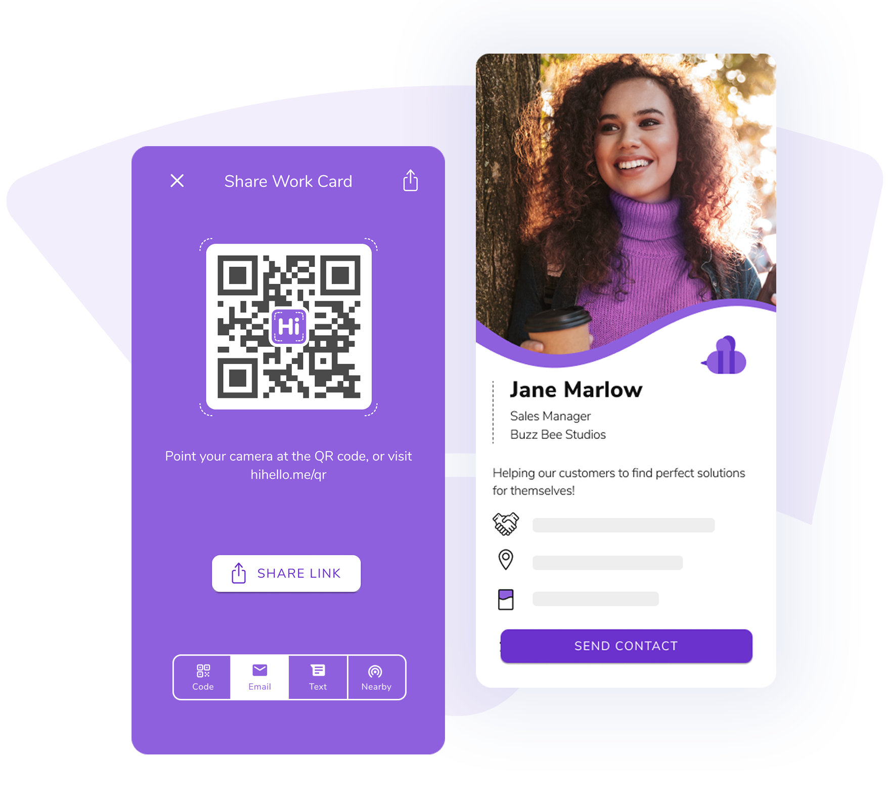 Share your HiHello digital business card via QR code, text, or email.